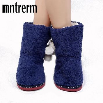 Wool Home Slippers 2017 New Print Plush Warm Winter Women Slippers Indoor Slippers Women Shoes