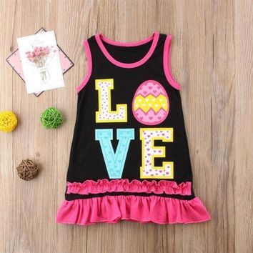 Princess Kids Girl Dress Letter Summer Print Kid Baby Wedding Pageant Tank Dresses Sundress Clothes