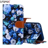 For iPhone7 Luxury Fashion 3D Abstract Flowers PU Leather Case For iPhone 7/ 7 plus Fundas Flip Wallet Stand Cover phone cases