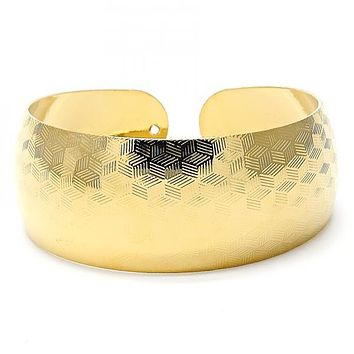 Gold Layered 07.165.0008 Individual Bangle, Diamond Cutting Finish, Golden Tone (25 MM Thickness, One size fits all)