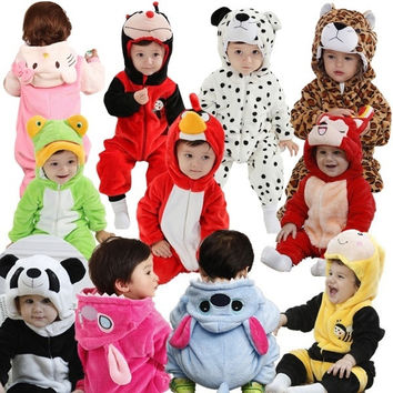 Winter baby clothes new cotton flannel lining quilted cartoon animal rompers baby clothing = 1930301380