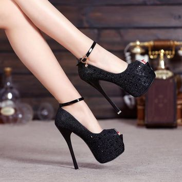 Shinning Sequins Ankle Wrap Open Toe Platform Super Stiletto High Heels Sandals