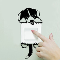 Hot Funny Cute Cartoon Doggy Dog Wall switch Sticker Pet light wall decals 3120 funny wall decal vinyl stickers