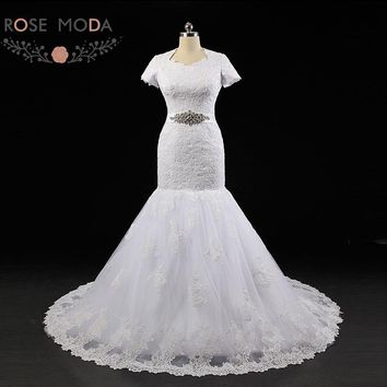 Rose Moda Vintage Mermaid Wedding Dress Short Sleeves Lace Wedding Dresses with Crystal Sash Muslim Wedding Gowns 2018