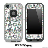 White and Colorful Dotted Anchor Collage Skin for the iPhone 5 or 4/4s LifeProof Case