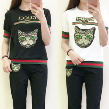 Gucci Fashion Women Green Eyes Cat Sequin Print Embroidery Letters Print Two Piece Green+Red Stripe Sports Suit Black/Red
