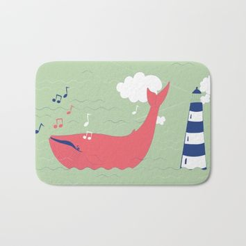 The Singing Whale Bath Mat by Texnotropio