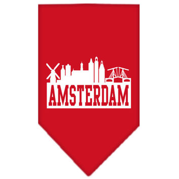 Amsterdam Skyline Screen Print Bandana Red Large