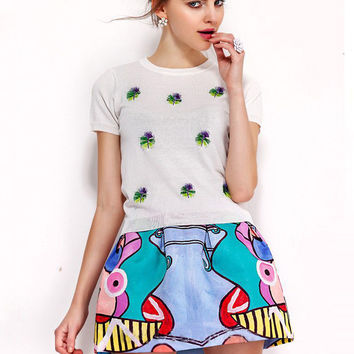 White Short Sleeve Embroidery T-Shirt and Cartoon Print Mini Skirt