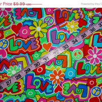 Funky fabric Love Flower Power Child Groovy cotton quilting sewing material to craft projects 1yd