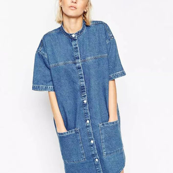 Denim Lower Pockets Short Sleeve Single-Breasted Mini Dress