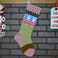 Christmas Stocking, Fair Isle Knit Stocking in Pink with Blue Angels and Purple Flowers, can be personalized, wedding gift, baby gift
