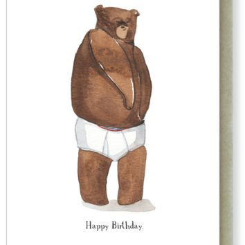 I'll Be Brief Bear Birthday Card