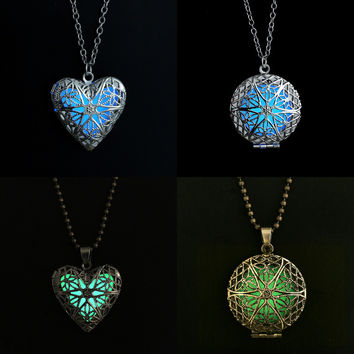 Chain Necklace 2015 Fashion Glow Heart Round Locket Glowing Pendant Necklace Glow in the Dark Glow Jewelry  N2333
