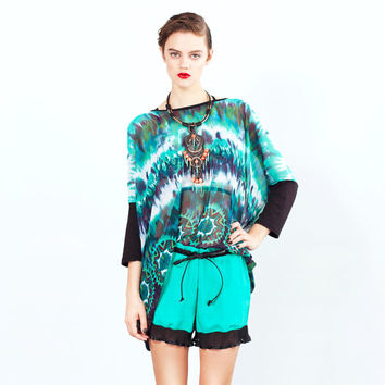 Tie Dye Chiffon Box T with bamboo sleeves - One Size