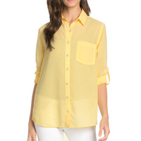 Roll Up Sleeve Button Down Yellow Chiffon Blouse