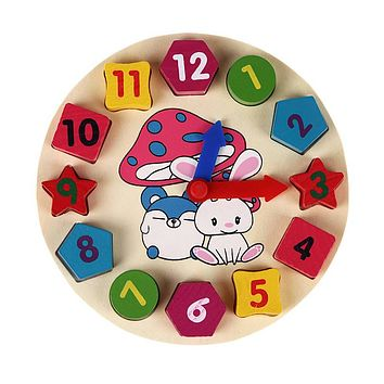 Wooden Colorful 12 Numbers Alarm Clock Beads Puzzle Digital Geometry Cognitive Matching Clock Kids Early Educational Toys Gift