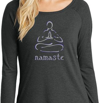 Womens Yoga T-shirt Namaste Lotus Pose Long Sleeve Tunic