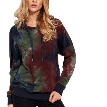 SheIn Womens Hoodies For Autumn Ladies Pullovers Multicolor Tie Dye Print Drop Shoulder Long Sleeve Vintage Sweatshirt