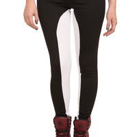 Black & White Split Leggings | Hot Topic