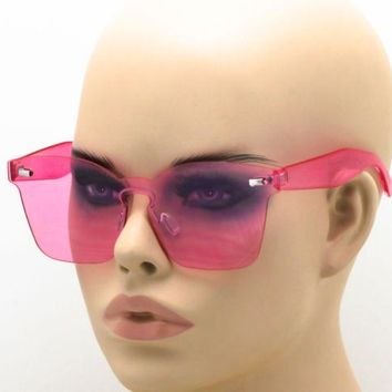 Elite Rimless Retro Sunglasses Transparent Ultra-Thin Colorful Block Glasses