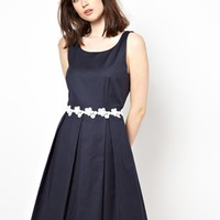 Boutique by Jaeger Pique Dress with Floral Waistband - Navy