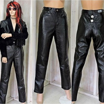 Faux leather pants / 28 X 31 size 5 / 6 / 90s high waisted black PVC pants / pleather jeans / rocker / biker / western / roughrider