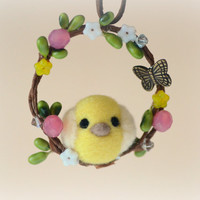 Needle felted Easter chick on wreath ornament, handmade Easter / Spring ornament, felt bird handbag charm, gift under 20