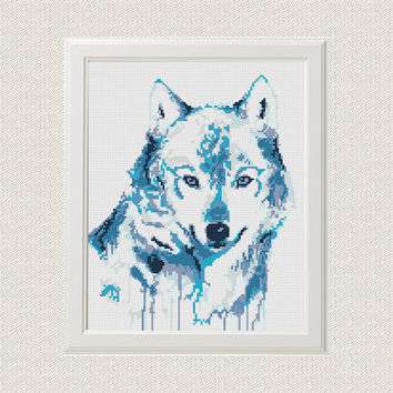 Watercolor Cross Stitch Pattern Wolf Animal Printable PDF Digital Dog Husky Embroidery Animals Funny Modern Cute Wall art Decor