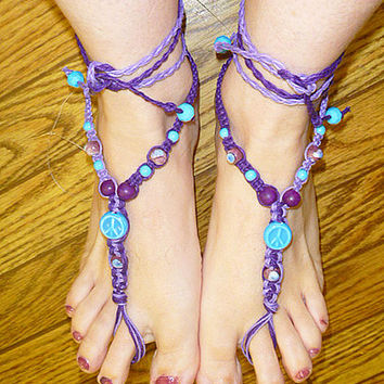 Purple Lilac Light Blue Peace Sign Hemp Barefoot Sandals   handmade macrame  hippie   beach  bottomless sandal foot thong