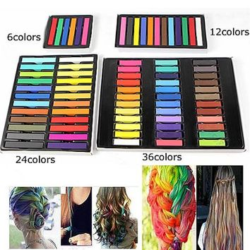 Professional Fashion Easy Temporary Colors Non-toxic Hair Chalk Dye Soft Hair Pastels Kit