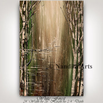 Original Lime Green, Brown MODERN LANDSCAPE PAINTING Birch Tree of Art, Wedding Gift, Contemporary Art Decor Landscape Art Gallery, Nandita