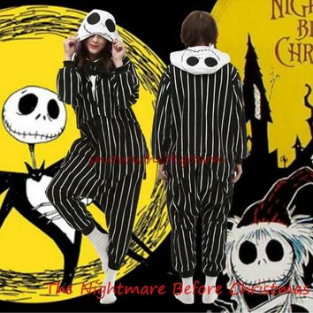 Nightmare Before Christmas Jack Adult Onesuits Fleece Pajamas Halloween Sleepwear