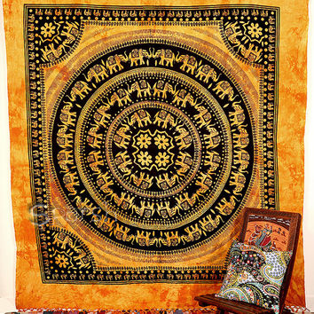 Elephant Hippie Tapestry, Mandala Hippie Bedspread Throw Bohemian Wall Hanging, Boho Hobo Ethnic Wall Decor, Queen Tapestry Mandala Art