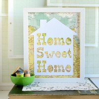 Home Sweet Home Vintage Map Papercut Art