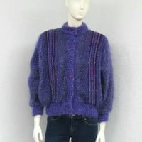 Vintage 80s Purple Cardigan Sweater, Mohair Sweater, Wool Cardigan, Oversized Cardigan, Chunky Cardigan, Knit Cardigan, Bulky Cardigan