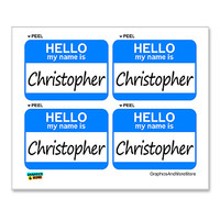 Christopher Hello My Name Is - Sheet of 4 Stickers