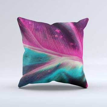 Neon Pink & Green Leaf Ink-Fuzed Decorative Throw Pillow