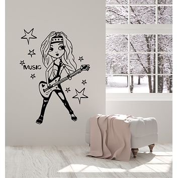 Vinyl Wall Decal Girl Teen Room Guitar Singer Music Stars Stickers Mural (g1838)
