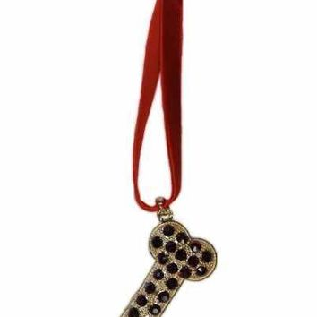 Crystal Dog Bone Ornament Red Velvet Hanger Gold Base Burgundy