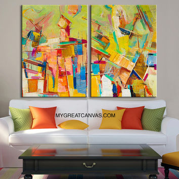 Abstract Colorful Wall Art Canvas Print |Light Green MixColor Canvas Art Print | Large Size Wall Art 2 Panel Canvas Print
