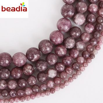 New Arrival Natural Lepidolite Stone Beads Dia 4/6/8/10/12mm Hole 1mm 32-95pcs/bag For DIY Bracelet Necklace Jewelry Making