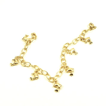 Dolphin Charm 18kts Gold Plated Bracelet