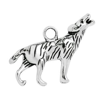 20 Pieces Brave Courage Howling Wolf Charms Findings for Jewelry Pendants Necklace Making 25 X 16mm
