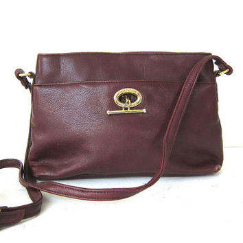 Vintage Etienne Aigner Purse Dark Burgandy Red Leather Preppy Minimalist Bag