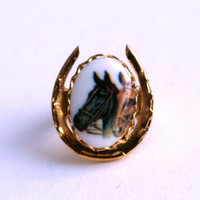 Two Horses Ring Adjustable Gold Tone Horseshoe Shape
