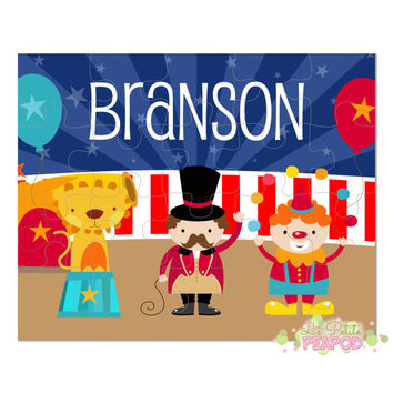 "Big Top Circus Puzzle - Kids Puzzles - Personalized 8"" x 10"" Puzzle - 20 or 100 pieces - Circus Design - Personalized Name Puzzle"