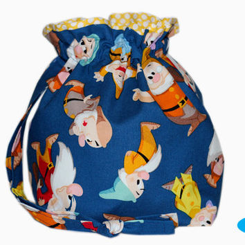 NEW Drawstring Project Bag | Knitting Bag | Sock Bag | Seven Dwarfs | Disney Inspired