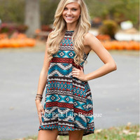 Multi-color Geometric Print Dress