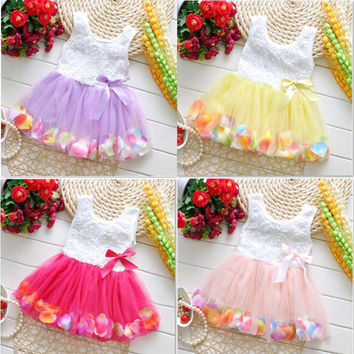 2015 Newborn Baby Party Dresses Flower Girls Princess Dresses Kids Beautiful Baby tutu Dress Summer Wear Free Shipping